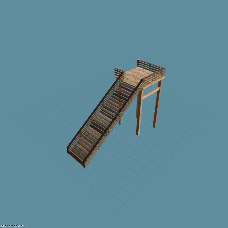 A wide wooden staircase (vicjump_sfe) [10244] on the dark background