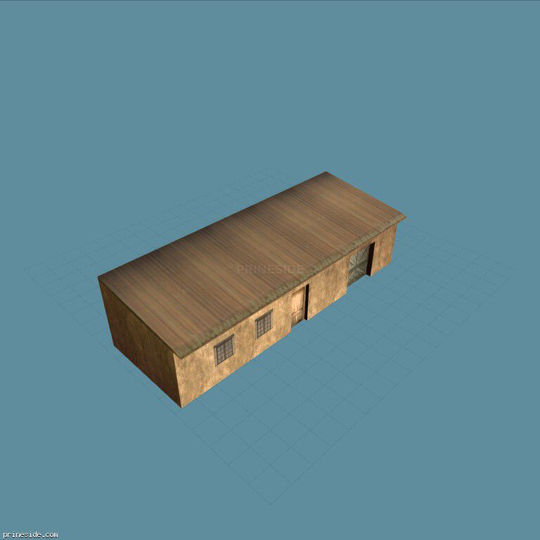 Poor one-storey house with garage (adobe_hoose2) [11433] on the dark background