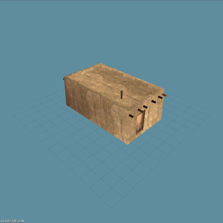 Маленький убогий бетонный дом без окон (des_pueblo11) [11459] на темном фоне