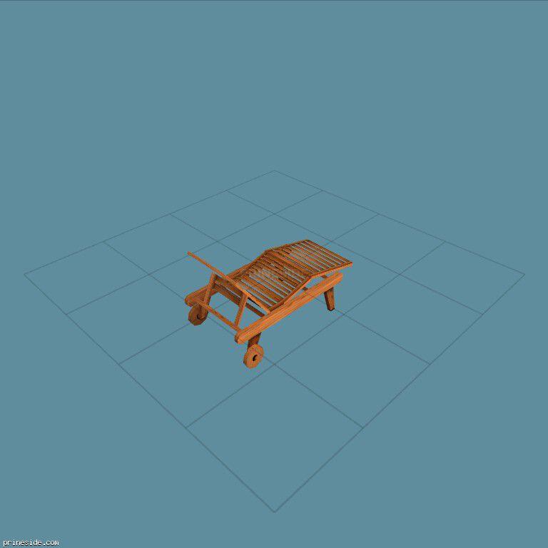 Деревянная раскладушка (lounger) [1255] на темном фоне
