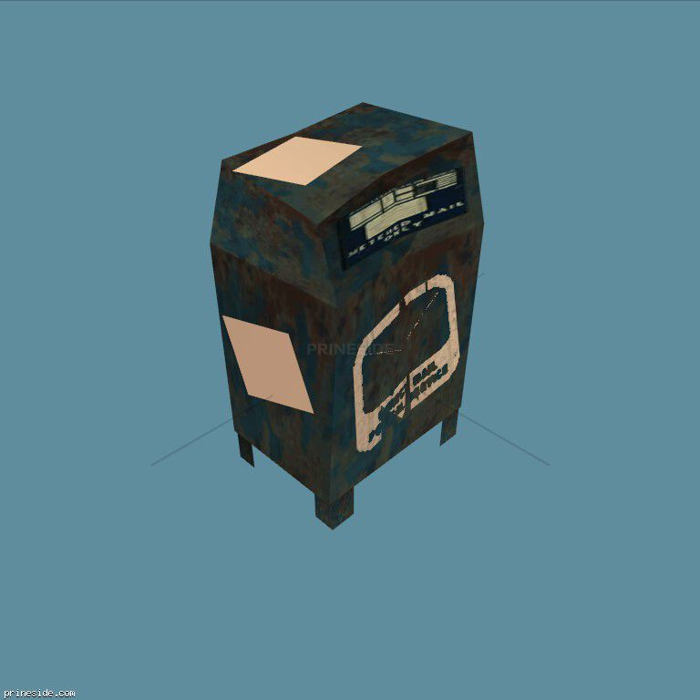 Blue deformed Inbox (postbox1_d) [1292] on the dark background