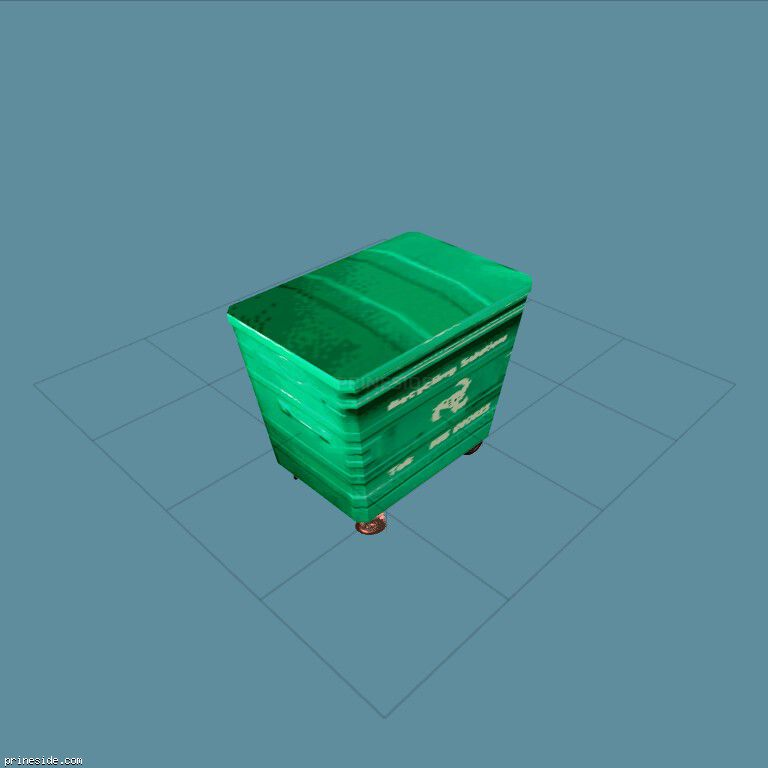 Green trash can (BinNt01_LA) [1331] on the dark background