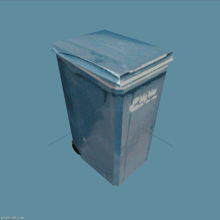 Blue trash can (BinNt09_LA) [1339] on the dark background
