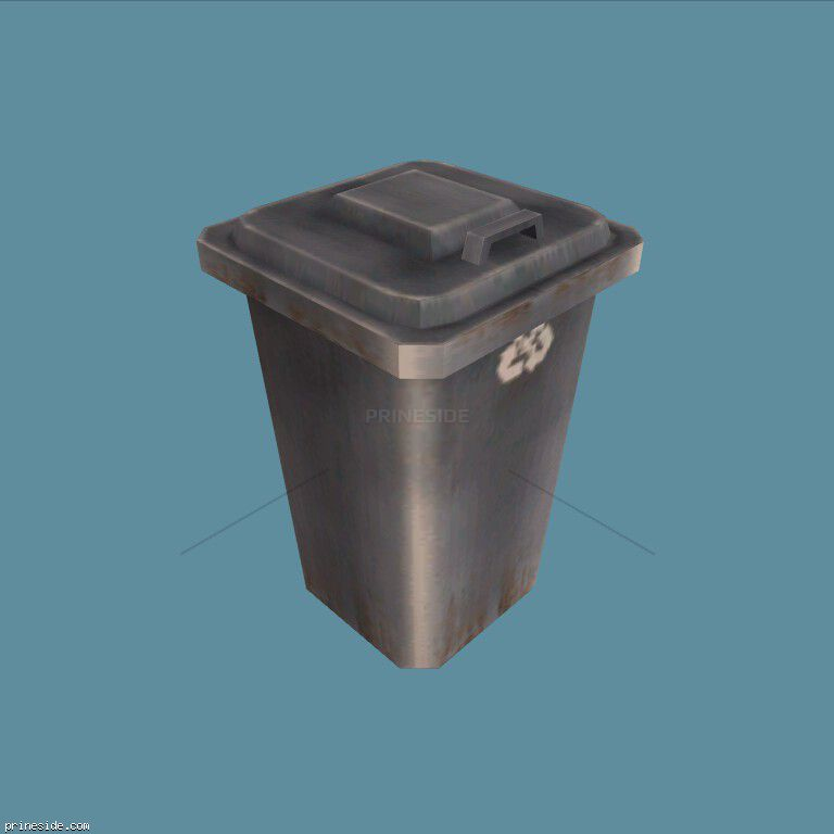 A small, gray trash can (CJ_Dumpster3) [1343] on the dark background