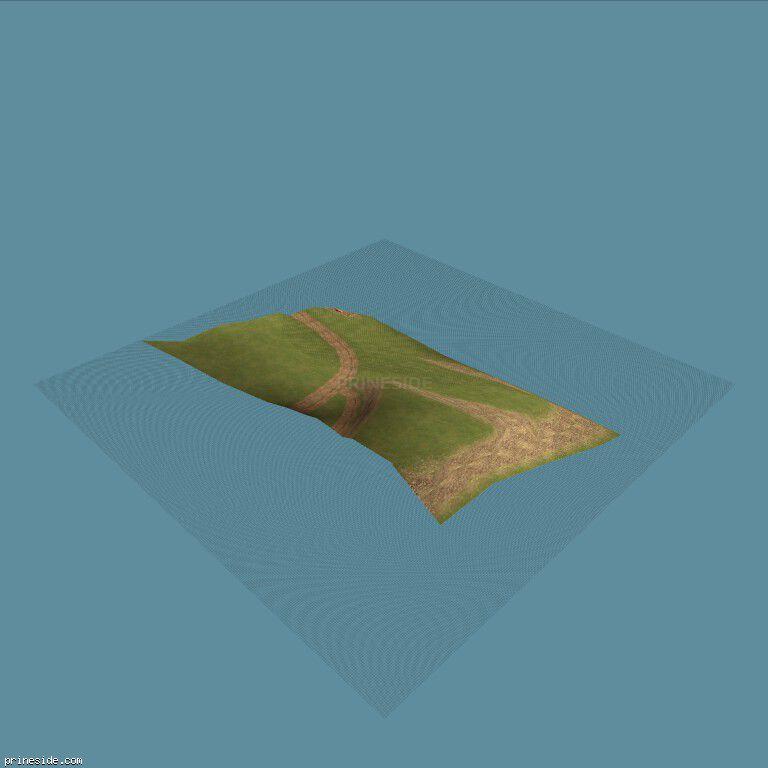 Участок невысокого зеленого холма с дорожкой (CE_grndPALCST02) [13809] на темном фоне