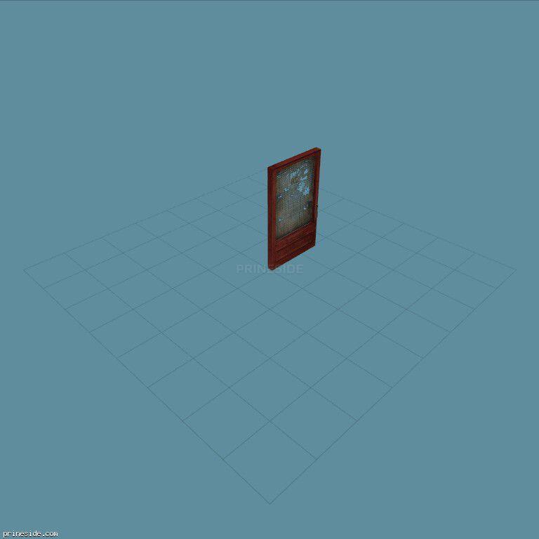 The wooden door with the old torn fabric upholstering (Gen_doorSHOP01) [1493] on the dark background