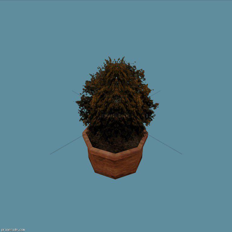 Небольшой куст в горшке (Plant_Pot_3_sv) [15038] на темном фоне