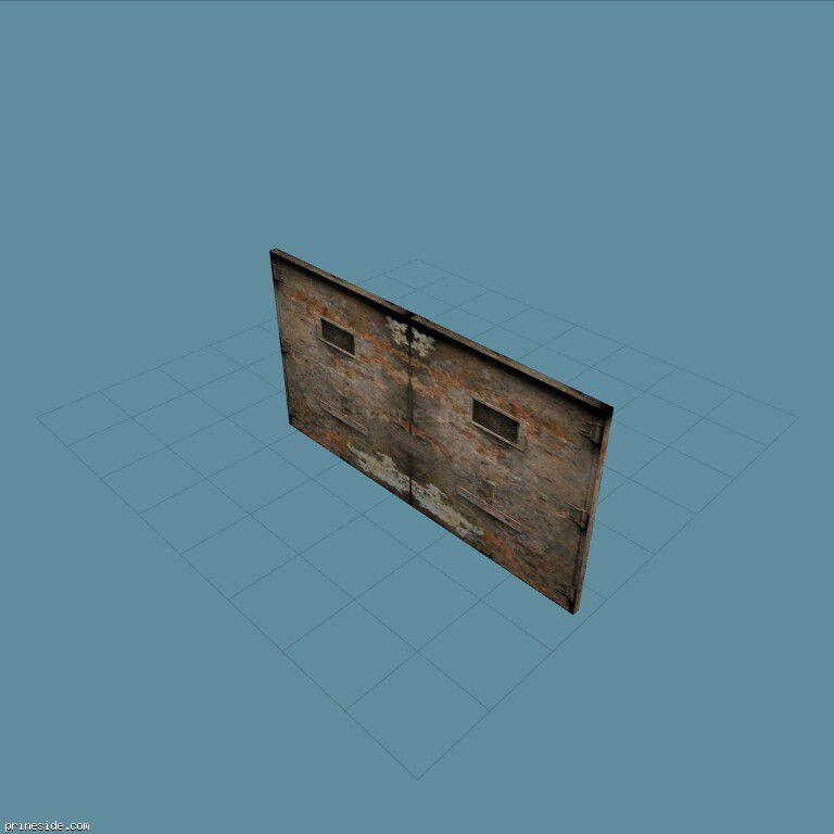 Double steel gates (DYN_GARAGE_DOOR) [1508] on the dark background