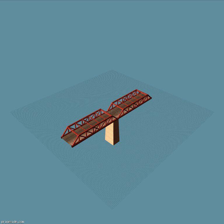 Часть моста с опорой (des_railbr_twr10) [16037] на темном фоне