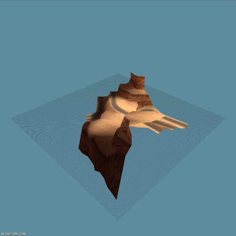 Часть песчаного ландшафта с холмом (cen_bit_08) [16200] на темном фоне