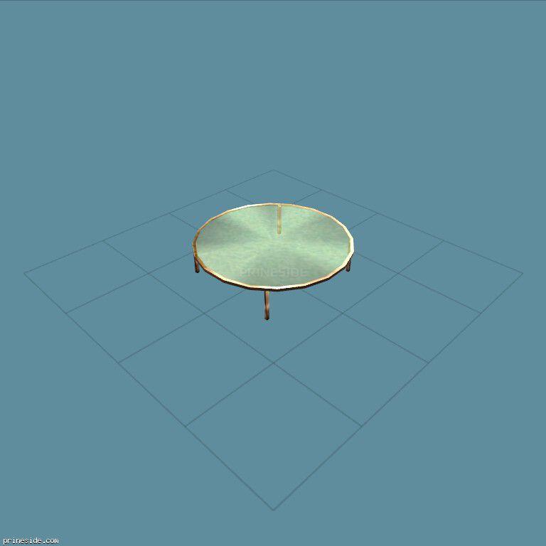 Круглый стеклянный стол (man_sdr_tables) [1827] на темном фоне