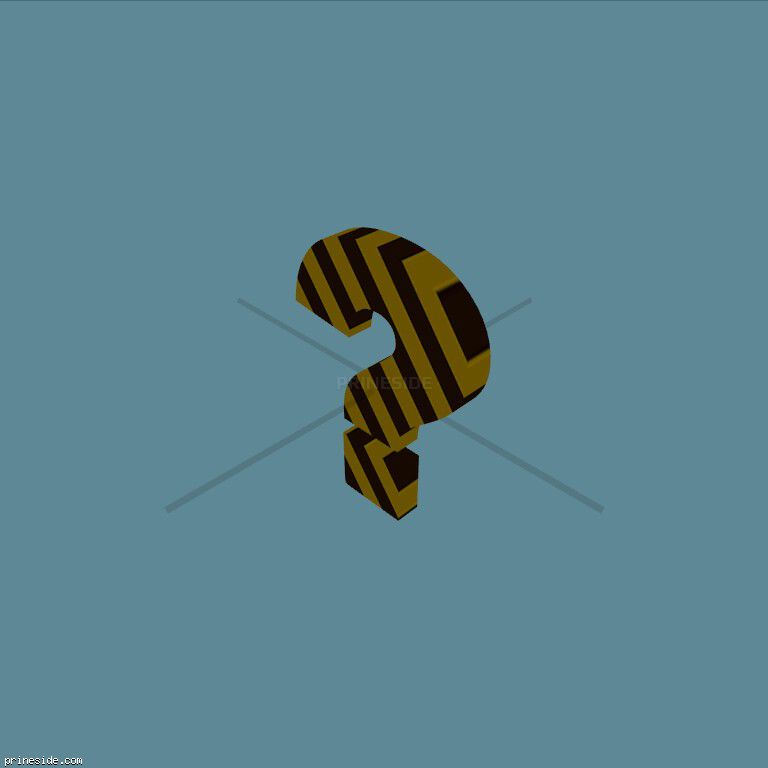 The question mark in a black-and-yellow striped (NoModelFile) [18631] on the dark background
