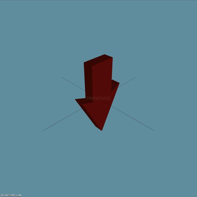 Пикап красной объемной стрелки, которая смотрит вниз (ArrowType4) [19133] на темном фоне