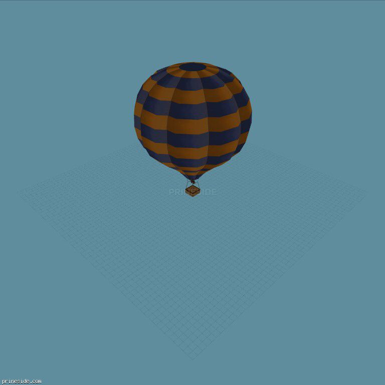 Blue-and-yellow balloon (Hot_Air_Balloon04) [19335] on the dark background