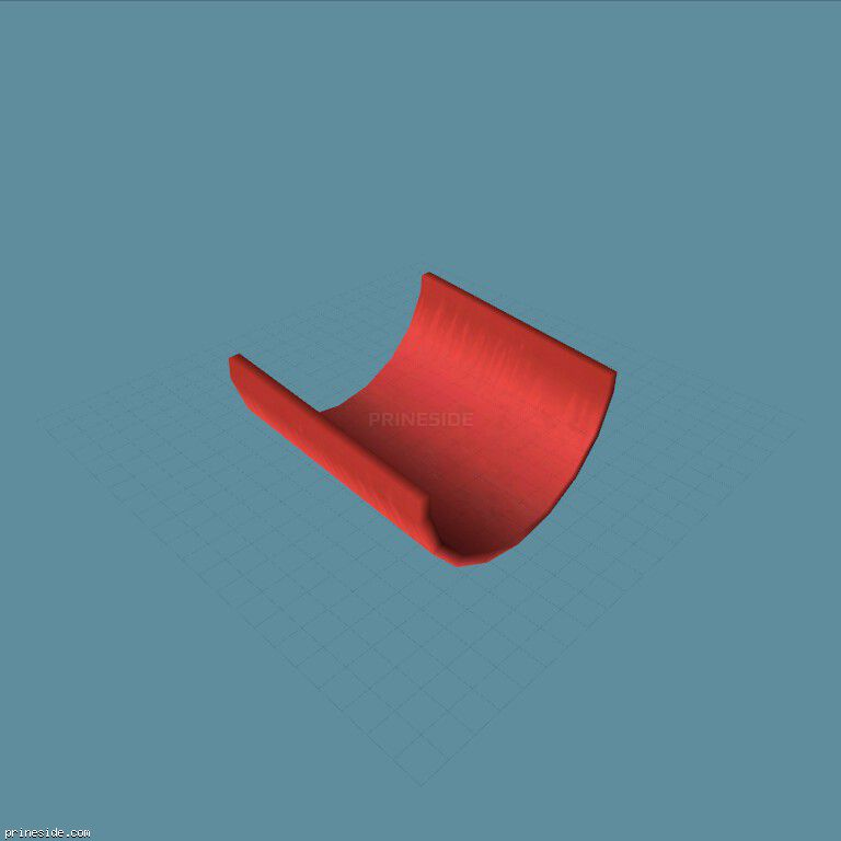 A semi-circular scarlet the stunt (TubeHalf5Bend2a) [19675] on the dark background