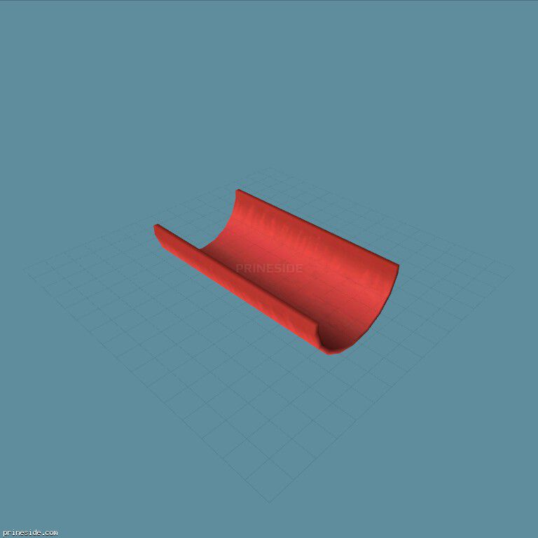 Smooth red half pipe for the stunt-racing (MTubeHalf10m1) [19696] on the dark background