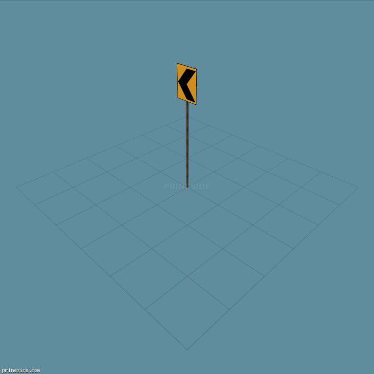 Дорожный знак указывающий путь (SAMPRoadSign4) [19951] на темном фоне