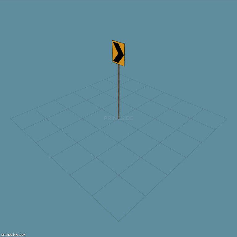 Оранжевый дорожный знак с черной стрелкой (SAMPRoadSign5) [19952] на темном фоне