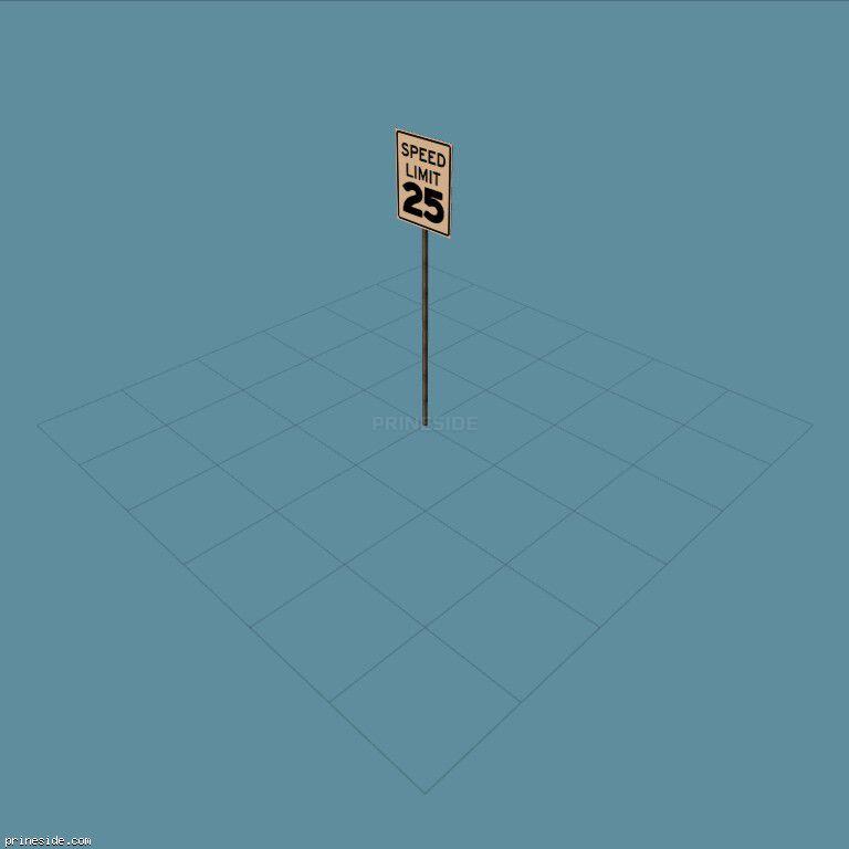 Дорожный знак ограничения скорости 25 миль / км в час (SAMPRoadSign39) [19986] на темном фоне