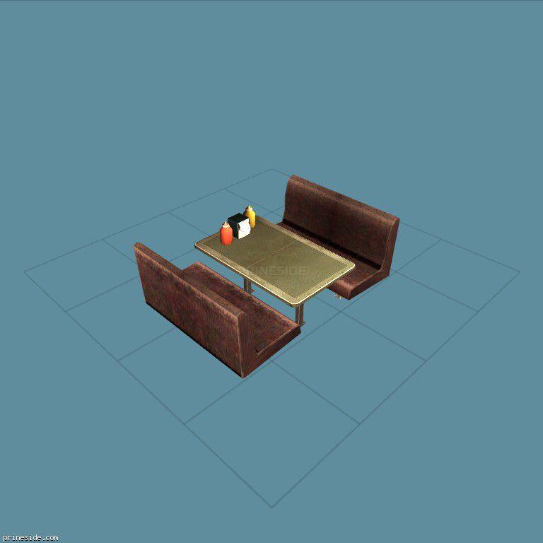 Столик из кафе и два небольших дивана (dinerseat_4) [2027] на темном фоне