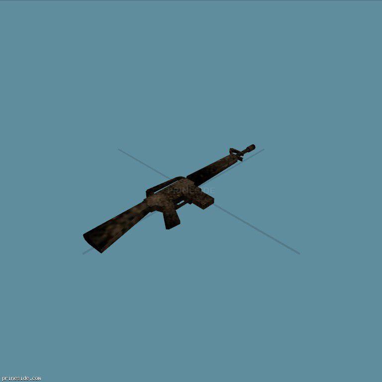 Old broken rifle M4 (CJ_M16) [2035] on the dark background