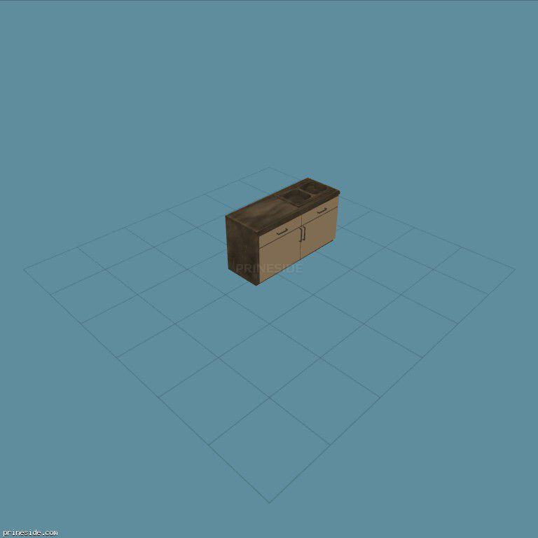 Кухонная столешница (CJ_KITCH2_SINK) [2132] на темном фоне