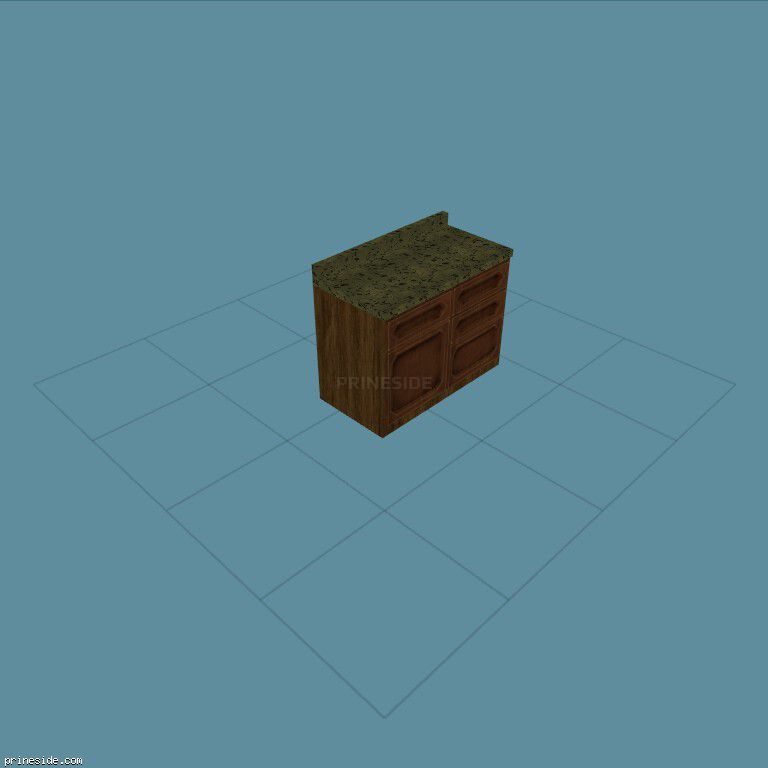 Деревянная кухонная напольная тумбочка с зеленым накрытием (CJ_K6_LOW_UNIT2) [2157] на темном фоне