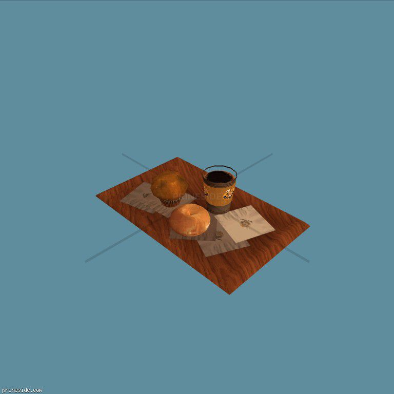 Wooden tray with coffee and two muffins (rustylow) [2221] on the dark background