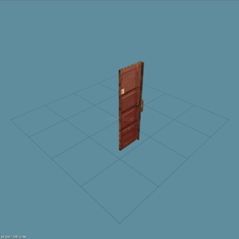The door from the red cargo container (CJ_CHRIS_CRATE_LD) [2678] on the dark background