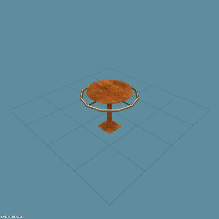 Wooden round table with metal rim around (CJ_DUDS_RAIL02) [2699] on the dark background