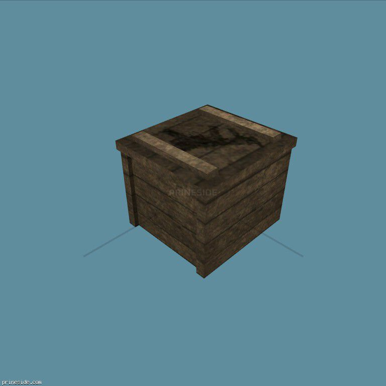 A wooden weapons box, on which is drawn a machine (cr_guncrate) [3014] on the dark background