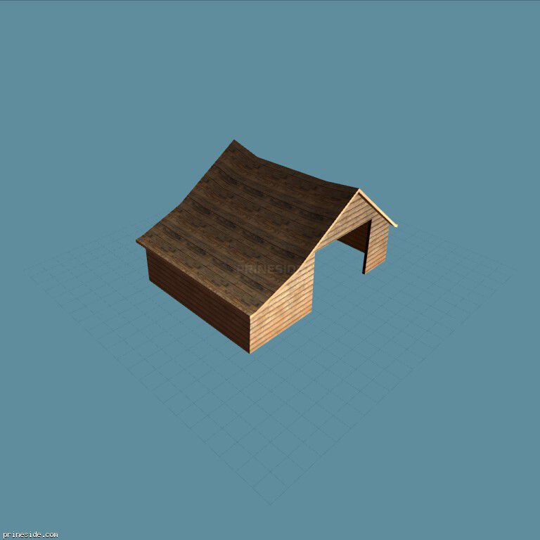 Небольшой ангар для фермы (cxrf_savhusgar1_) [3359] на темном фоне