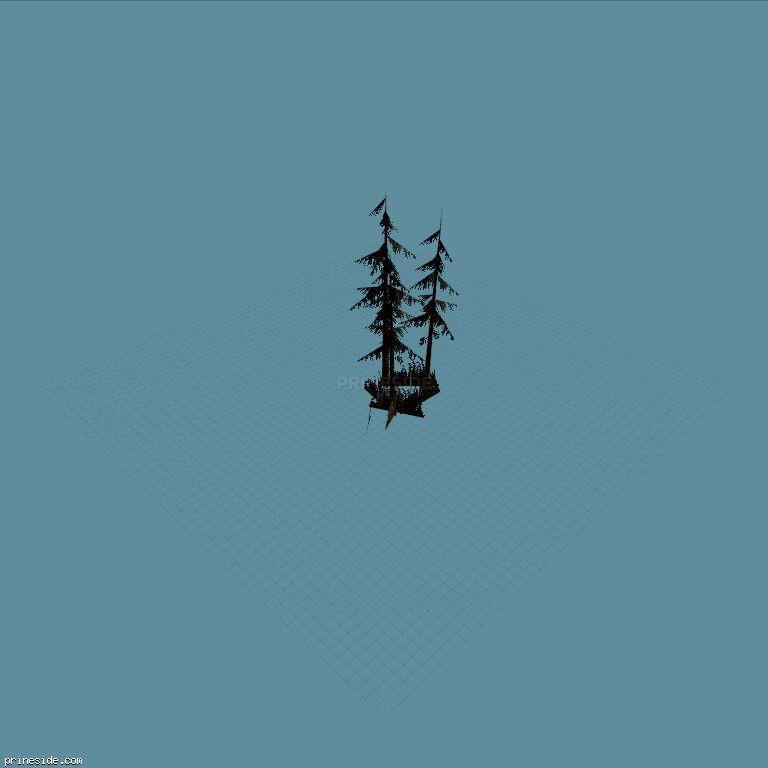 Комлекс хвойных деревьев с кустами (sm_fir_scabg) [688] на темном фоне