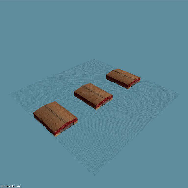 Три одинаковых ангара (vgswrehse13) [8255] на темном фоне