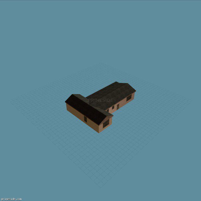 Одноэтажная вилла в форме буквы Т с черной крышей (Villa_SFN_CHRIS_02) [9221] на темном фоне
