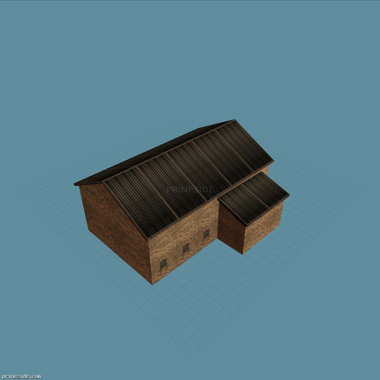 Warehouse brick building with a black roof (hrborbuild_SFN01) [9244] on the dark background