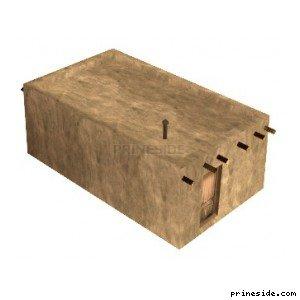 Маленький убогий бетонный дом без окон (des_pueblo11) [11459] на светлом фоне