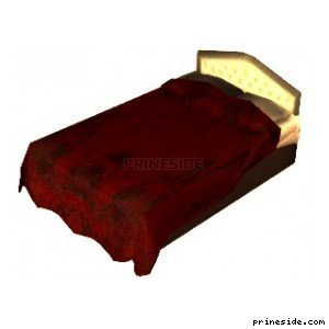 Double bed with red blanket (SweetsBed1) [11720] on the light background