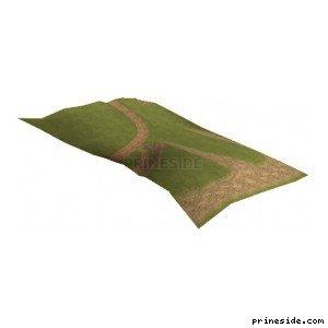 Участок невысокого зеленого холма с дорожкой (CE_grndPALCST02) [13809] на светлом фоне