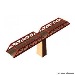 Часть моста с опорой (des_railbr_twr10) [16037] на светлом фоне