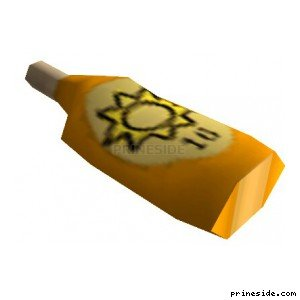 Yellow bottle (lotion) [1644] on the light background