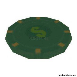 Green chip (pkr_chp_med03) [1862] on the light background