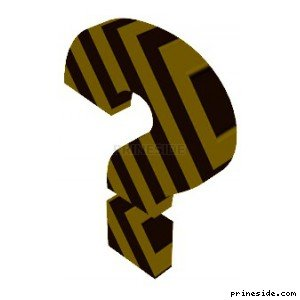 The question mark in a black-and-yellow striped (NoModelFile) [18631] on the light background