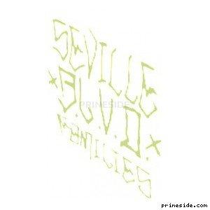 Темно-зеленое граффити Seville BLVD Families (SprayTag2) [18660] на светлом фоне