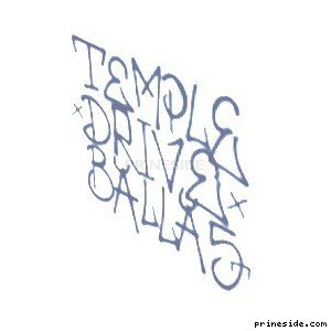 The inscription on the wall of the Temple drive ballas in dark blue (SprayTag6) [18664] on the light background
