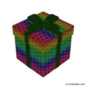Разноцветная коробка с рождественскими подарками (XmasBox3) [19056] на светлом фоне