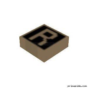 Маркер для карты с белой буквой R на черном фоне (MapMarker34) [19234] на светлом фоне