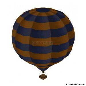Blue-and-yellow balloon (Hot_Air_Balloon04) [19335] on the light background
