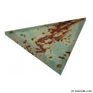 Triangular rusty metal panel (MetalPanel3) [19845] on the light background