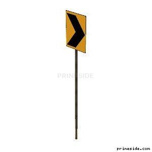 Оранжевый дорожный знак с черной стрелкой (SAMPRoadSign5) [19952] на светлом фоне